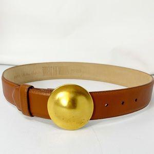 Vintage Robert Lee Morris Gold Dome Buckle Belt